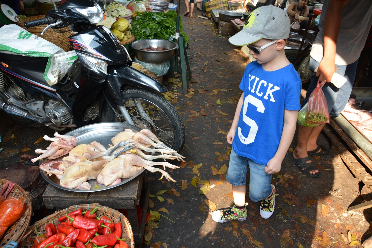 Cambodia with kids - local market